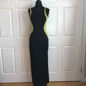 Long stretchy black and yellow dress
